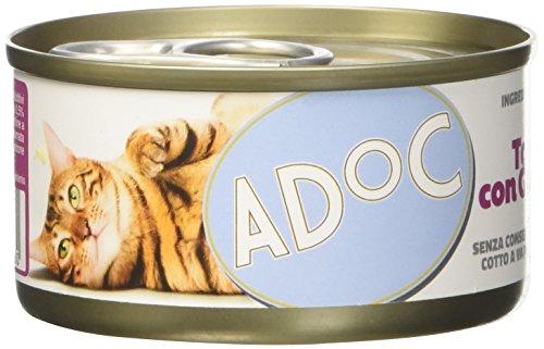 Adoc Naturale Tonnetto con Gamberetti per Gatti Adulti, Confezione multipack da 3 pezzi
