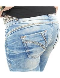 Stylische Damen Jeans von Cipo & Baxx Slim Fit Stretch mit Kontrastnähten hellblau