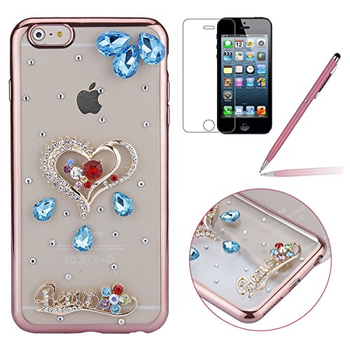 iPhone 6 Plus Hülle,iPhone 6s Plus Case,iPhone 6 Plus Bling Case - Felfy Ultradünne Transparent Gel TPU Silikon Diamond Skin Bling Glitte Kristall Schutzfolie Glitzer Silber Silikon Crystal Case Durch C22