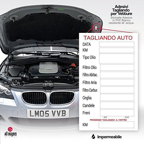 2AINTIMO Adesivi PVC tagliando Auto generici per Auto Olio Freni Candele Aria Cinghie (25)