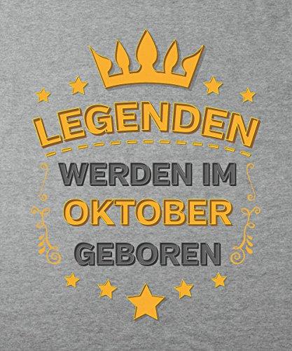 -- Legenden werden im Oktober geboren -- Girls T-Shirt auch im Unisex Schnitt Sports Grey