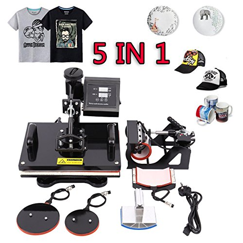 Ridgeyard Upgrade 5 in 1 Hitze Presse Maschine digitale Ubertragung Sublimation Becher T-Shirt Platte Kappe Hut heat press machine 15'X12'