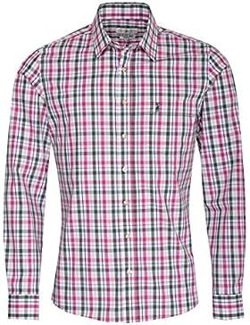 Almsach Trachtenhemd Jonas Slim Fit Zweifarbig in Pink und Dunkelgrün Inklusive Volksfestfinder