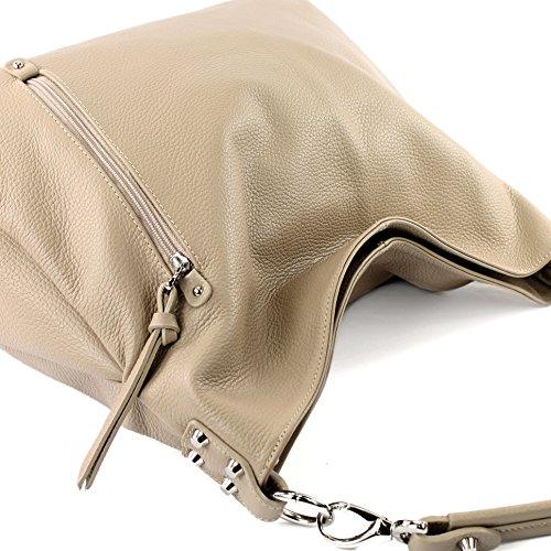 Modamoda de T121–Borsa da donna a tracolla, in pelle italiana Beige Leder