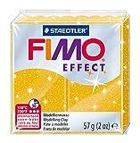 FIMO Pâte à modeler EFFECT, à cuire, or glitter, 56 gcuit en 30 minutes à 110 dégrés, mélangeable avec FIMO SOFTet FIMO CLASSIC, conforme à la norme européene des jouets,bloc normal strié en 8 portions, pour des modèles glitterdimensions: (L)55 x (P)...