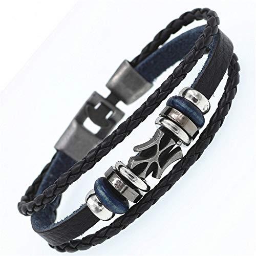 WODESHENGRI Armbänder,Multilayer Armband Männer Lässige Mode Geflochtenes Leder Armbänder Für Frauen Holz Perlen Armband Punk Rock Männer Schmuck