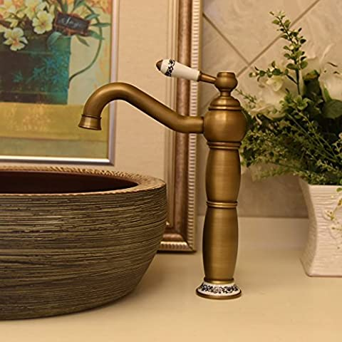 Liing Ceramic Table Basin Accessories, All Copper Imitation Antique Gourd Type Bibcock, Hot And Cold Vertical Sitting Type Bibcock