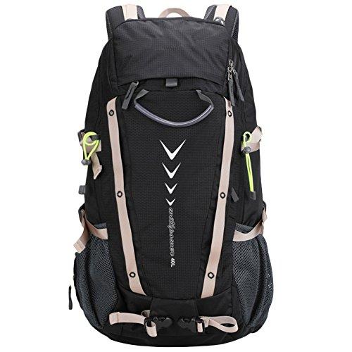Mountain Bag Trekking Kletterrucksack Für Männer Outdoor Sports Rucksäcke Wasserdichte 40L Reisetaschen,Black-OneSize (Zahnbürste Erste-hilfe-kit)