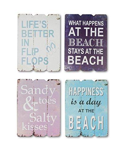 levandeo 4er Wandbild-Set aus Holz je 28x21cm - 4 Holzbilder mit sommerlichen Sprüchen - Sommer Strand Bilder Wandobjekt Maritim Dekoration Beach Spruch 4tlg.