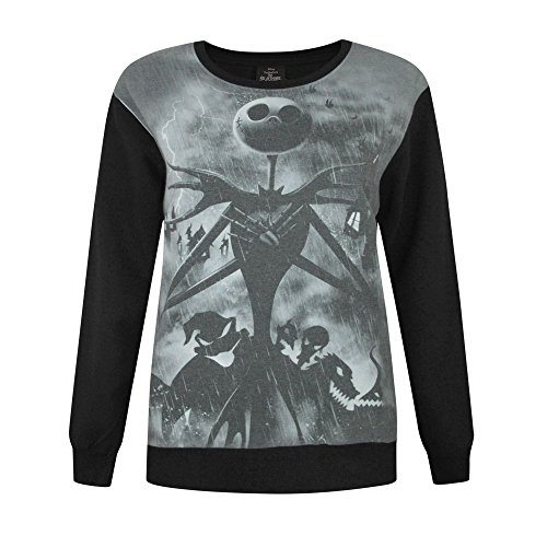 Nightmare before Christmas Damen Pullover mit Sublimationsdruck (2XL) (Schwarz) (Before Christmas-halloween-party-dekorationen Nightmare)