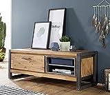 Main Möbel TV Lowboard Holz massiv Tundra 130x45 Akazie Natur Metall
