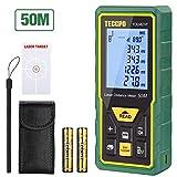 Laser Entfernungsmesser Distanzmessgerät 50m TECCPO Elektronischer Winkelsensor, m/in/ft/ft + in, Ruhefunktion, 30 Datenspeicherung, Entfernung, Fläche, Pythagore-Volumen, Winkel, IP54, TDLM21P