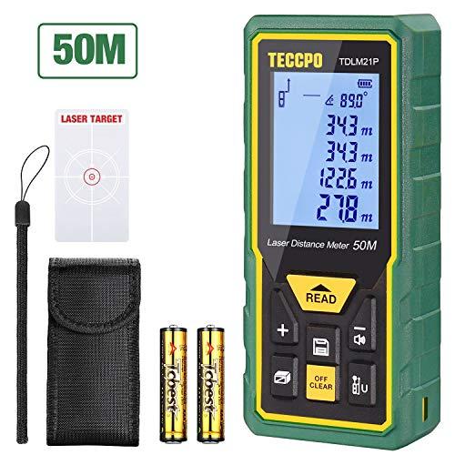 Telemetro laser 50m, teccpo misuratore laser distanza, sensore angolare elettronico, m/in/ft/ft+in, funzione muto, 30 gruppi dati, distanza, area,volume, misura del pythagore, angolo, ip54, tdlm21p