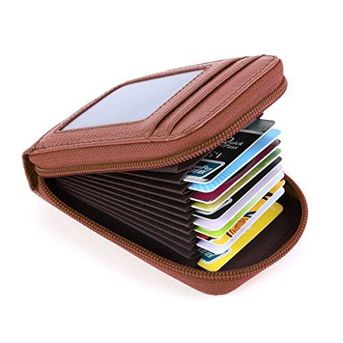 Mcvilla Leder Kredit Kartenetui Kartenmappe Visitenkartenetui Scheckkartenetui Portemonnaie Geldbörse RFID Schutz (Lila) Hellbraun