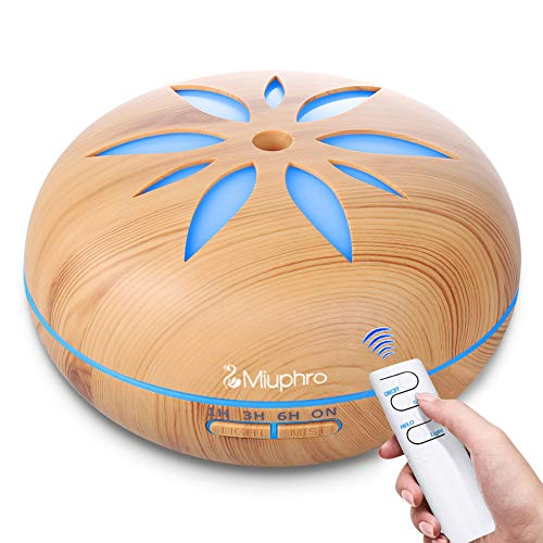 Aroma Difusor, Miuphro 550 ml Humidificador Ultrasónico, Silencioso Difusor de Aceites Esenciales, 7-Color LED, 4 Ajustes de Tiempo, Auto-Apaga, para Yoga, Aromaterapia, Hogar (Amarillo)