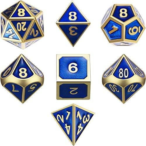 TecUnite 7 Die Metall Polyedral Würfel Set DND Glänzend Gold und Blau Emaille Rollenspiel Spiel Würfel mit Aufbewahrungstasche für RPG Dungeons und Drachen D&D Mathematik Lehren