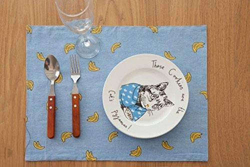 FiveRen Platzset/ Tischsets, Rechteck Baumwolle und Leinen Stoff Platz Matte, Doppelseitig Bedruckt Täglichen Grund Platzdeckchen Placemats 45x33cm (8er-Set, Bananen) (Diamant-gesteppte Handtasche)