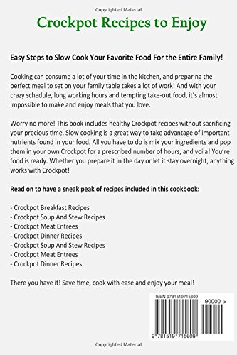 Cookbook: CROCKPOT - Healthy Recipes, Easy To Make, Lose Weight with Delicious Meals