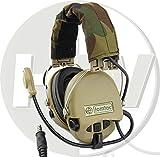 TOMTAC Softair Sordin Headset Mikrofon Boom Radio MSA Design Woodland Tan De