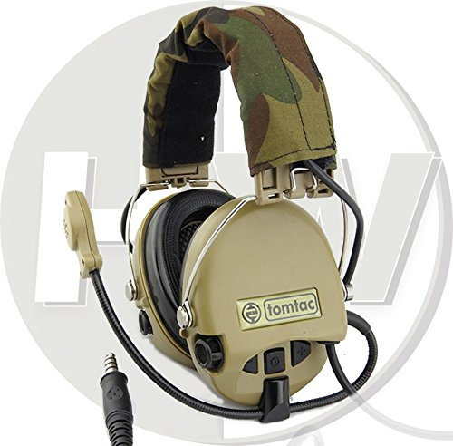 TOMTAC Softair Sordin Headset Mikrofon Boom Radio MSA Design Woodland Tan De