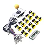 WINIT 1 Player LED Lights Arcade DIY Parts Kit 10 x LED Light Button + 5Pin 8 Way Joystick for USB MAME, Raspberry Pi, Raspberry Pi 2, Raspberry Pi 3 RetroPie Projects Color: Yellow