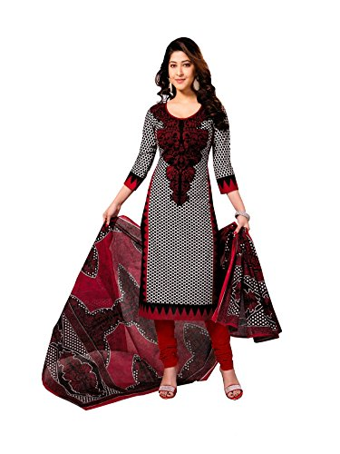 Vaamsi-Womens-Cotton-Unstitched-Dress-Material-Cocp555-Black-And-Red-Free-Size