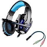 multifun G9000 Gaming Headset für PS4 3,5mm Stereo Gaming Kopfhörer PC mit LED Licht Mikrofon In-line Lautstärkeregler für Playstation 4 PC Tablet Smartphone, Schwarz und Blau mit Verpackung