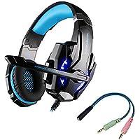 multifun G9000 Gaming Headset per PS4,Cuffie da Gioco Con Microfono e Spinottoda 3.5mm,Cuffie Gaming con LED per PS4,Auricolari Stereo Surround Sound per PC Laptop Tablet Telefono Cellulari (blu)