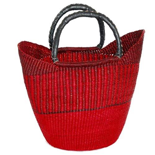 Fair-trade-shopper (Damen Shopper/Einkaufstasche/Ghana-Korb - Steppengras - Fair Trade (Rot))