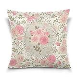 LilyNa Shabby chic rosa floreale federa cuscino, divano letto di federe (40,6x 40,6cm) doppia lati