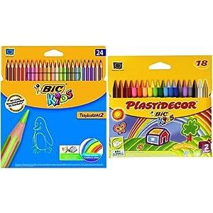 Bic – Pack 24 lápices de colores Tropicolors + 18 ceras de colores Plastidecor