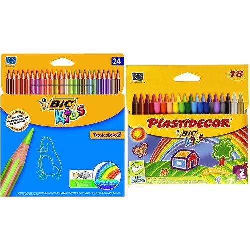 Bic - Pack 24 lápices de colores Tropicolors + 18 ceras de colores Plastidecor
