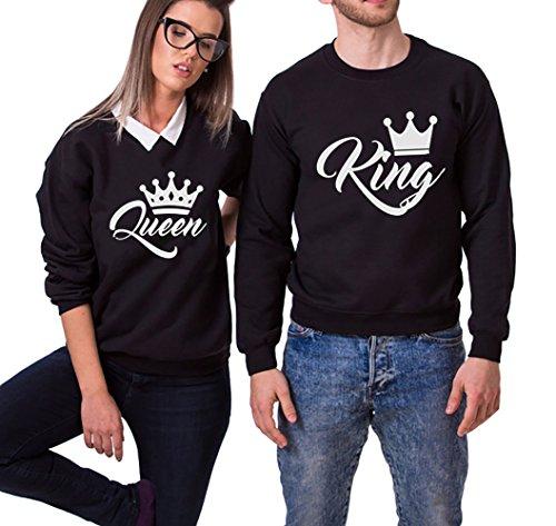 *King Queen Hoodie Kapuzenpullover Set Pärchenpullover 2 Stücke JWBBU®*