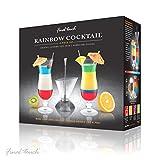 Touche Finale 3pièces Deluxe Rainbow Cocktail superposition Ensemble Comprend Cocktail Outil de superposition et Lot de 2verres ouragan dans une boîte cadeau–Créez des couches de boissons Cd3163