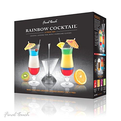 Final Touch Cocktail-Set, 3-teilig, mit Rainbow-Cocktail-Schichthilfe und 2 Hurricane-Gläsern, in Geschenkbox, für mehrlagige Getränke, CD3163 Edge-hurricane
