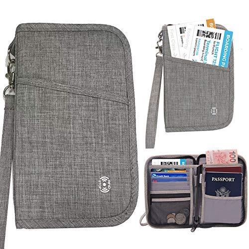 HOPAI Cartera de Viaje Parta Pasaporte Portadocumentos Familiar con RFID Organizador de Documentos
