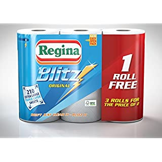 24 Rolls Of Regina Blitz 3ply Kitchen Roll Paper Towels - 70 sheets each roll.