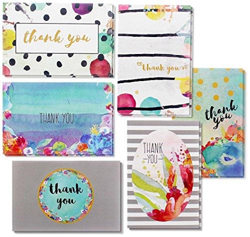 (juvale Bulk Thank You Karten–Note Karten Grußkarten für alle Anlässe–6Floral Watercolor Designs–blanko–auf der Innenseite inkl. 48Karten und Umschläge, 10x 15cm.)