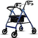 HHXX Leichter Roll-Walker, Aluminium-Rollator mit gepolstertem Sitz und Tasche Kompakter, zusammenklappbarer Hochleistungs-Walker mit Handbremse -
