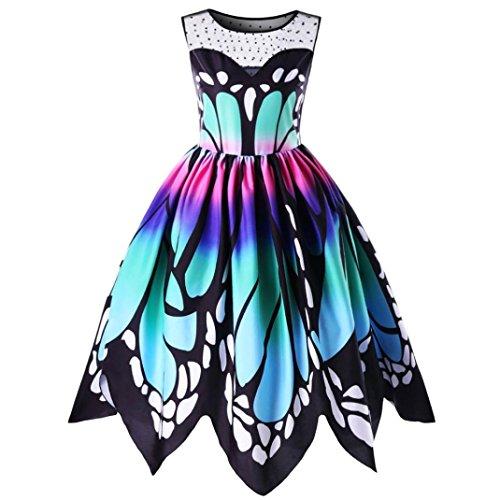 Trada SCHLUSSVERKAUF Mode Damen Bezaubernd Schmetterling Drucken Ärmellos Party Kleid Jahrgang Swing Elegant Spitze Kleid (M, Mehrfarbig) (Disco Polyester Shirt)