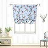 Tie Up Printed Blackout Curtain, Rod Pocket Thermal Insulated Room Darkening Roman Shade