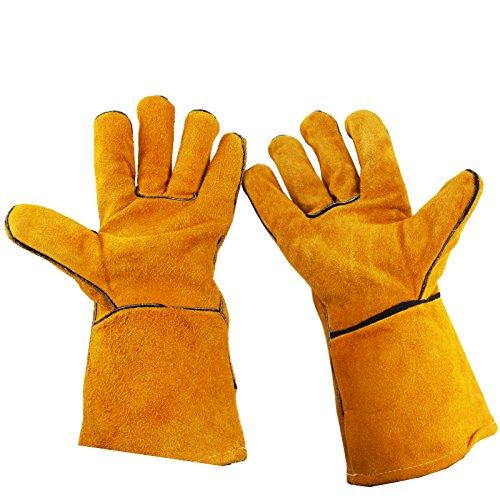 HJJH Anti-Punktions-Gartenhandschuhe, Professionelle Rosen-Dekorative Handschuhe, Dickes Leder, Rutschfestes Breathable, Perforiert, Unterarm-Schutz, Benutzt in der Rose, Kaktus,Yellow -
