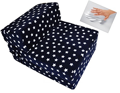 Little Mattress Company® Zbeds – Memory Foam Fold-Out Single Sofa Futon Guest Z Bed – Navy & White Stars – 71cm x 57cm x 46cm – Including Luxurious Soft Plush Fleece Cover