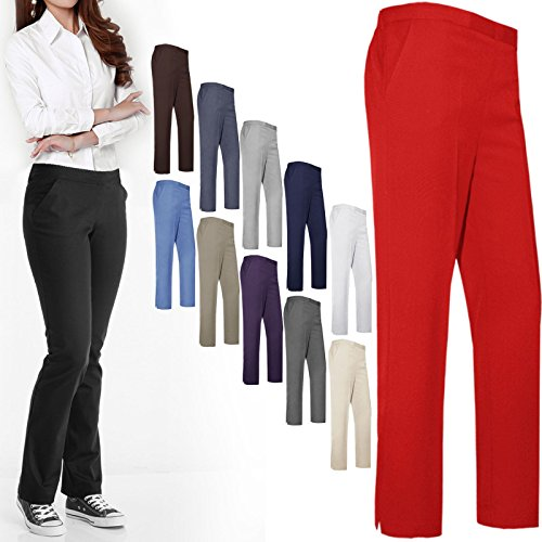 "Women Ladies Trousers Classic Pants Girls School Uniform Half Elasticated Waist Office Bottoms UK 10-24 Leg Length 25"" 27"" 29"""