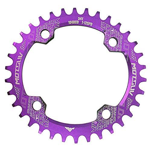 Duk3ichton Fahrrad-MTB-Kurbel 104BCD 32T / 34T / 36T / 38T Ovales rundes, schmales, breites Kettenblatt - Lila 32T-Runde -
