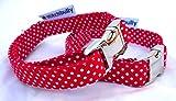 stitchbully HB00163 Hundehalsband rot mit weißen Punkten gepunktet 33-45 cm stufenlos verstellbar