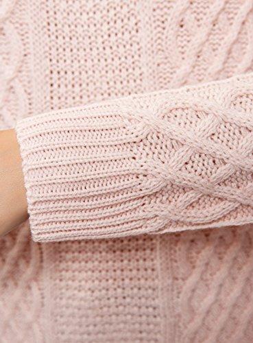 oodji Ultra Damen Reliefstrick-Pullover mit Langem Rücken Rosa (4000N)