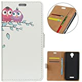 KM-WEN® Case for Wiko Jerry 2 (5 Inch) Book Style Cute Owl
