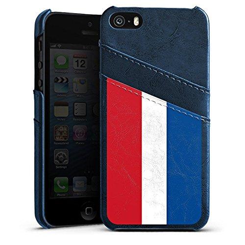 Apple iPhone 5s Housse Étui Protection Coque Pays-Bas Hollande Drapeau Étui en cuir bleu marine