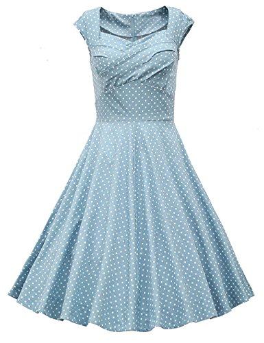 Dresstells Vintage 1950's Audrey Hepburn robe de soirée cocktail, bal style années 50, Rockabilly, Swing Pois Bleu